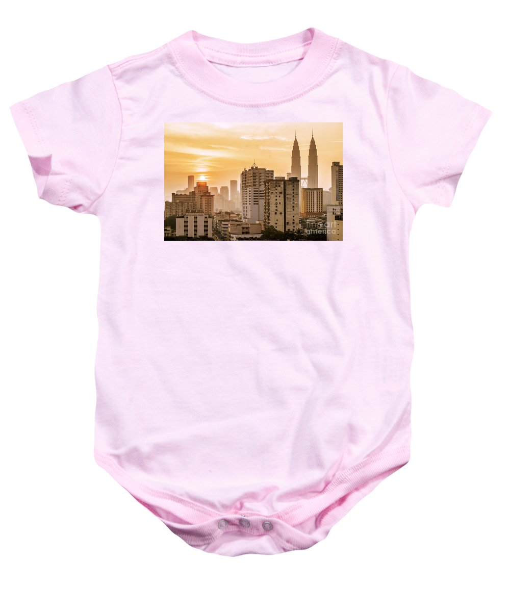 Malaysia Baby Onesie featuring the photograph Twin Towers by Charuhas Images