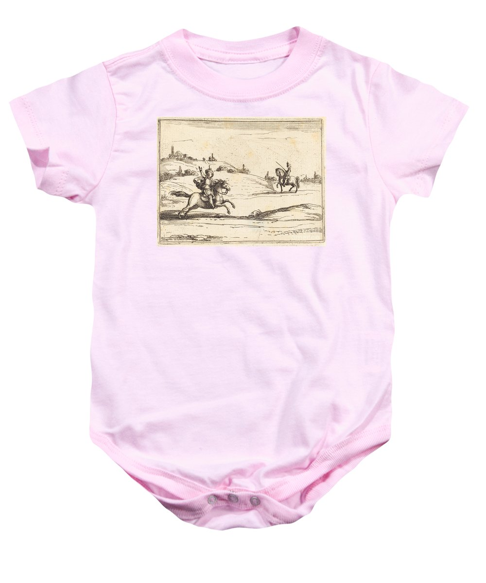 Baby Onesie featuring the drawing Two Knights by Jacques Callot
