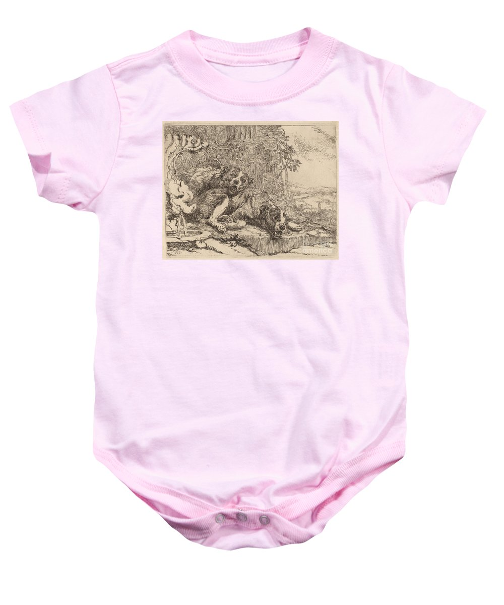 Baby Onesie featuring the drawing Two Mastiffs Beside A Fountain by Jan Fyt