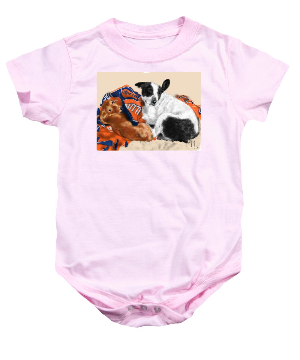 Dachshund Baby Onesie featuring the painting Two Peas In A Pod by Lois Ivancin Tavaf