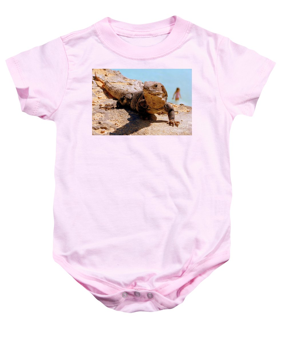 Iguana Baby Onesie featuring the photograph Two Worlds by Priscilla Richardson