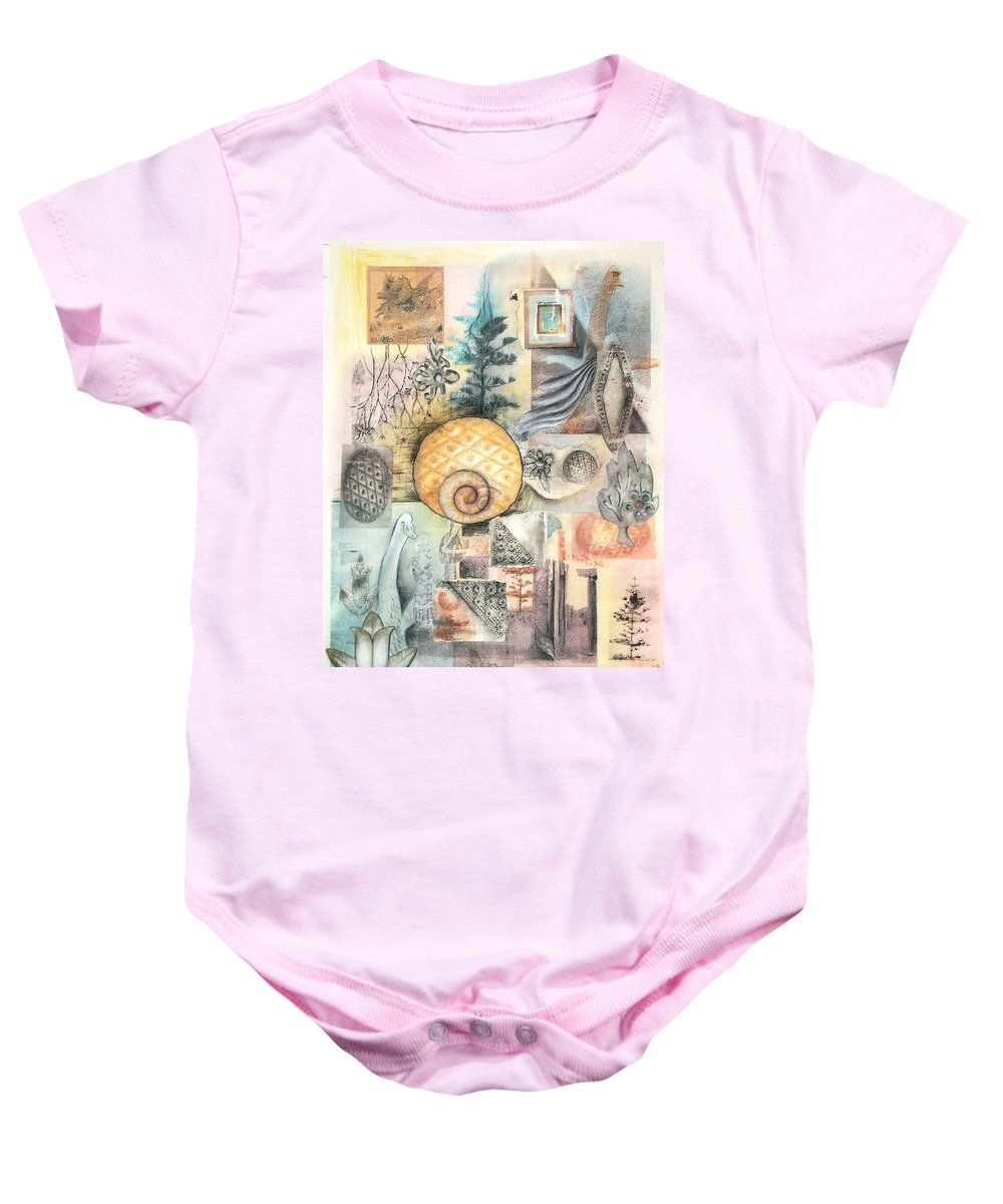 Abstract Baby Onesie featuring the mixed media Up and Away by Valerie Meotti