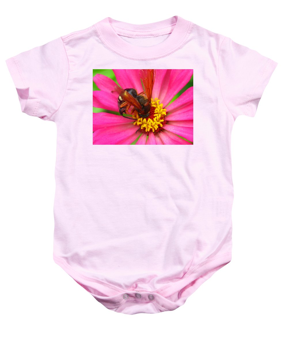 Bee Baby Onesie featuring the photograph Up Close And Personal by Brittany Horton