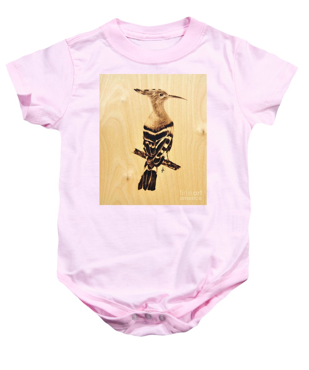 Upupa Baby Onesie featuring the pyrography Upupa by Ilaria Andreucci