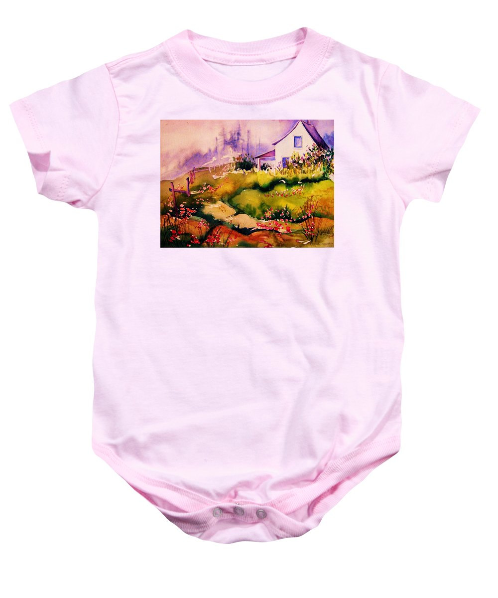 Cottagescenes Baby Onesie featuring the painting Vermont Summers by Carole Spandau
