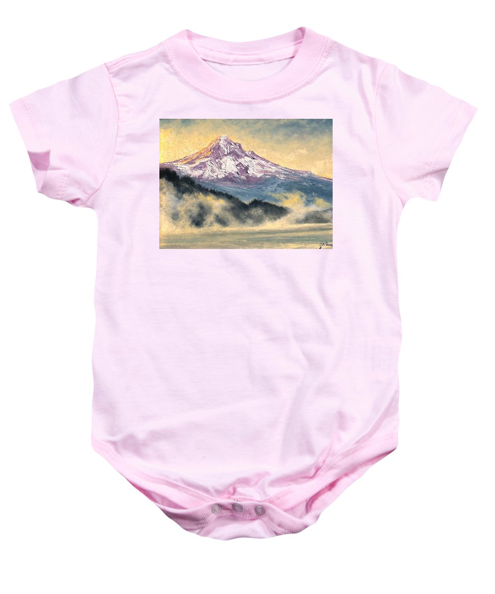 Lanscape Baby Onesie featuring the painting View Of Mt Hood by Jim Gola