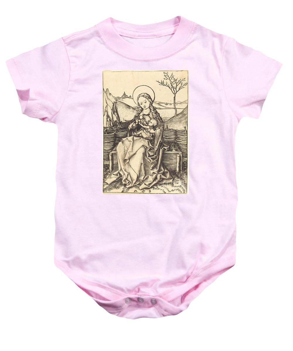 Baby Onesie featuring the drawing Virgin And Child On A Grassy Bench by Martin Schongauer
