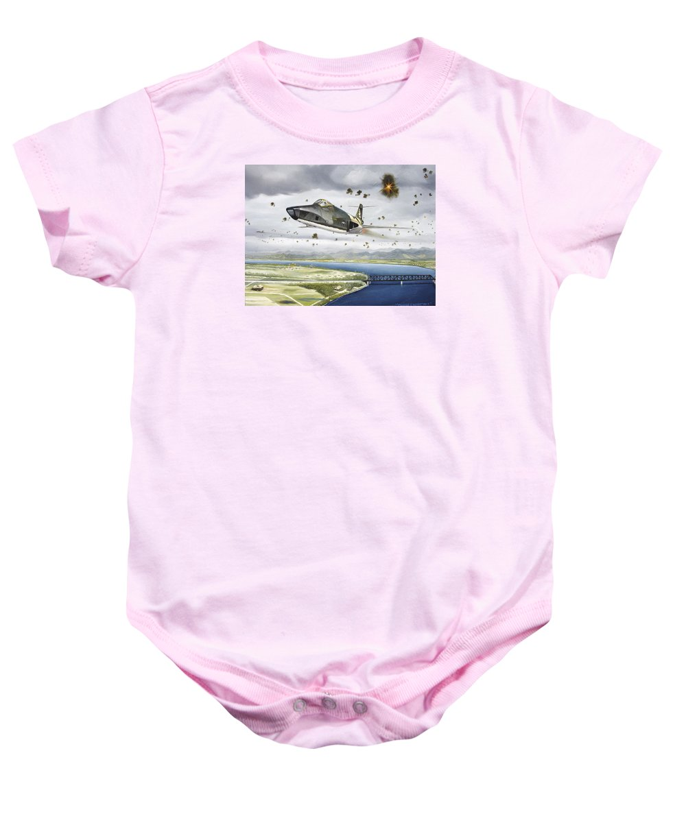 Military Baby Onesie featuring the painting Voodoo Vs The Dragon by Marc Stewart