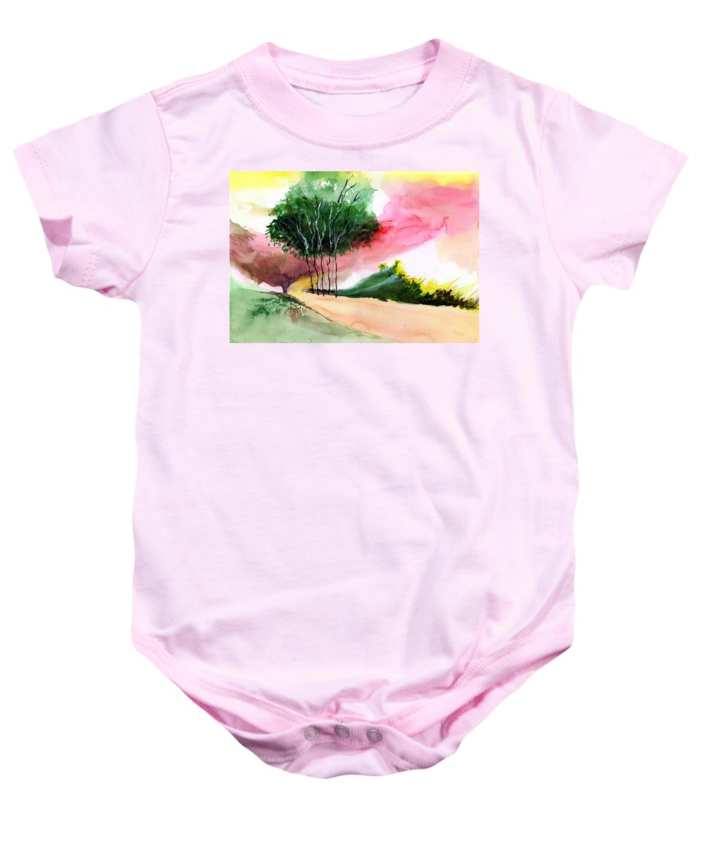 Watercolor Baby Onesie featuring the painting Walk Away by Anil Nene