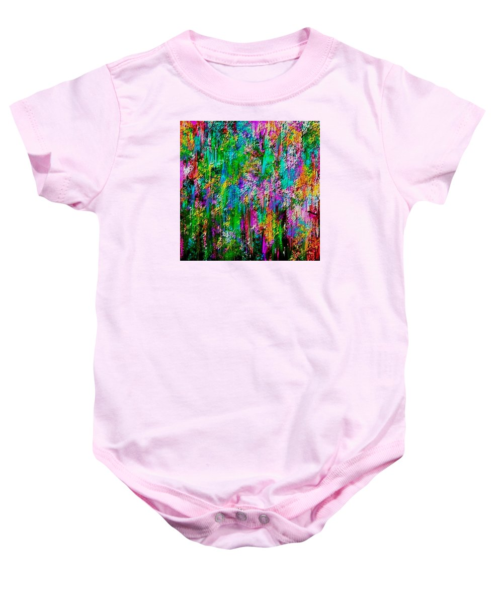 Flowers Baby Onesie featuring the painting Wall Of Flowers by Patty Weiler
