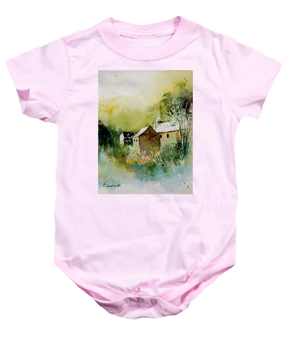 Landscape Baby Onesie featuring the painting Watercolor Sosoye by Pol Ledent