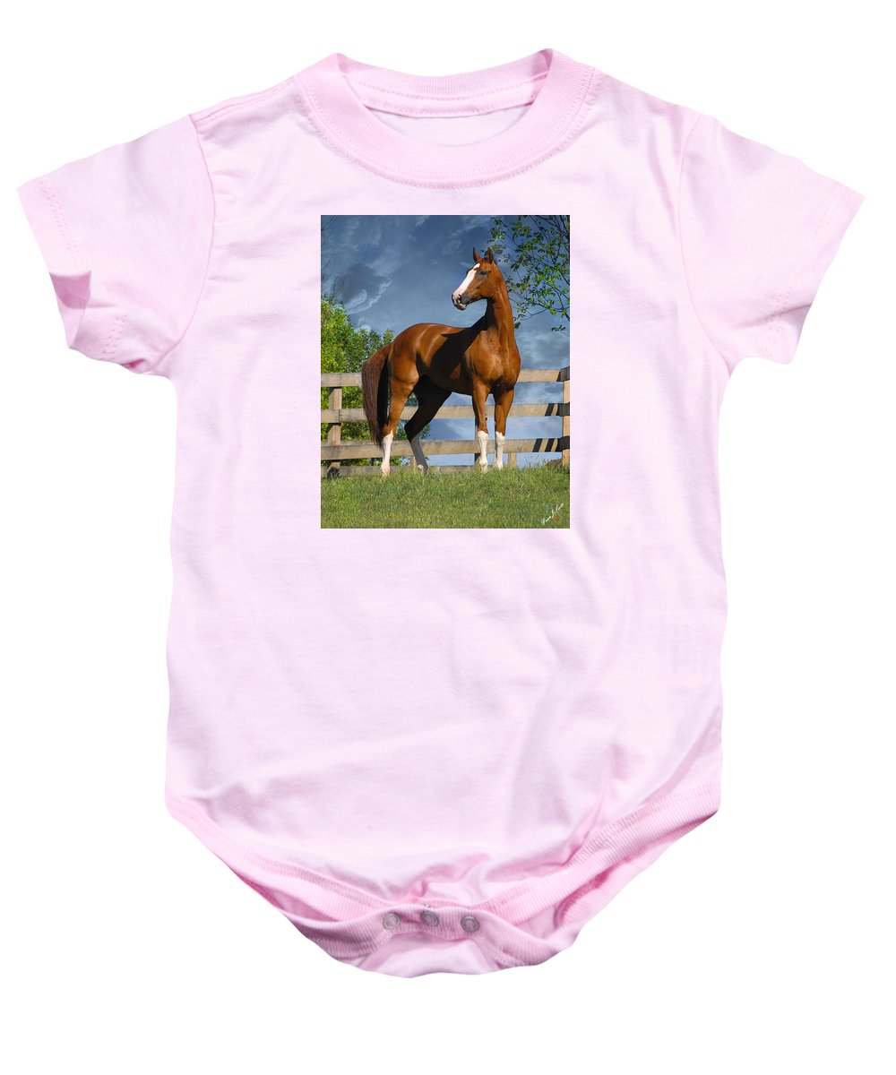 Horses Baby Onesie featuring the photograph Welt Adel by Fran J Scott