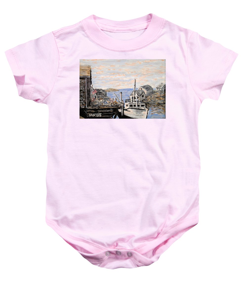 White Baby Onesie featuring the painting White Boat in Peggys Cove Nova Scotia by Ian MacDonald