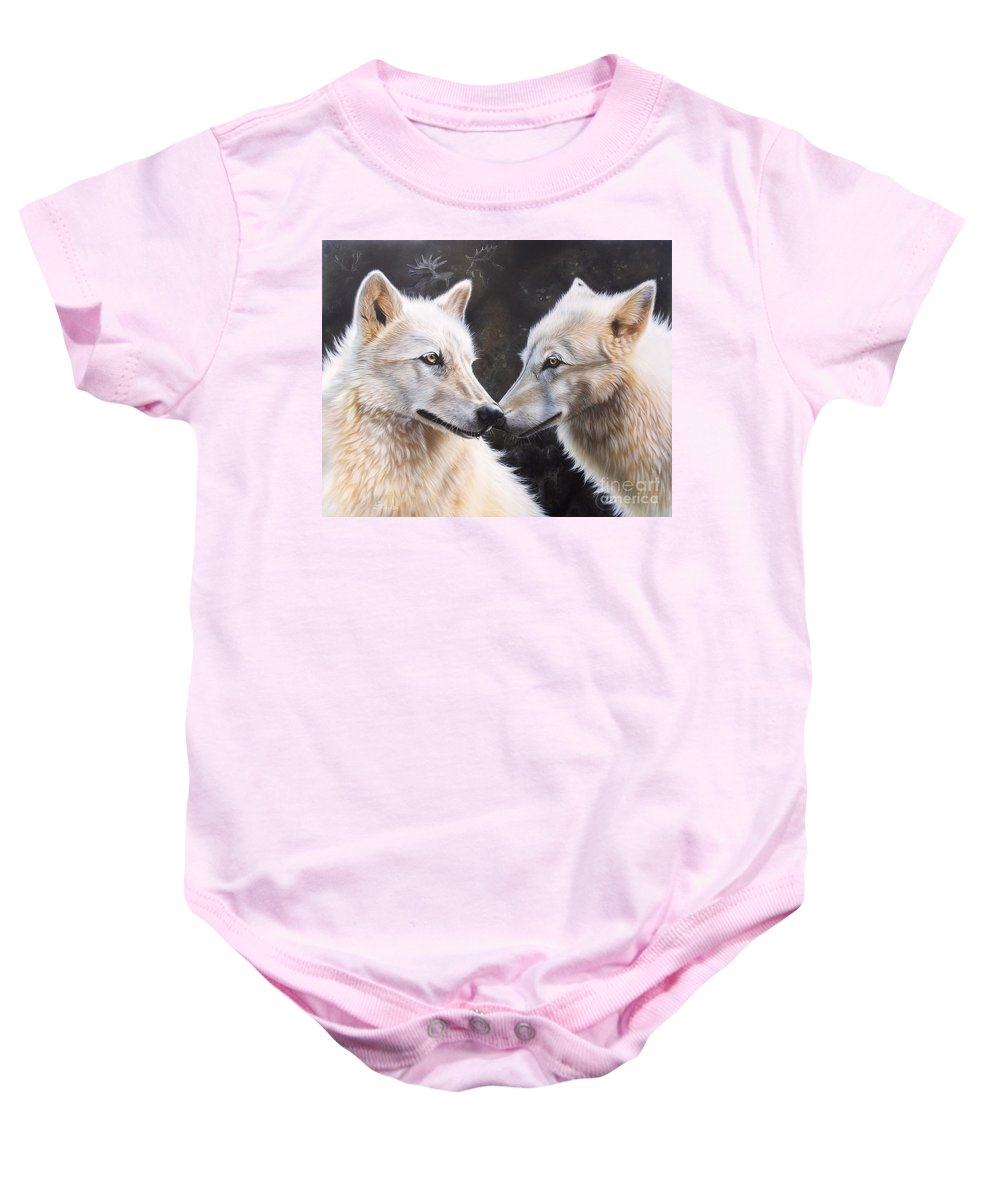 Acrylic Baby Onesie featuring the painting White Magic by Sandi Baker