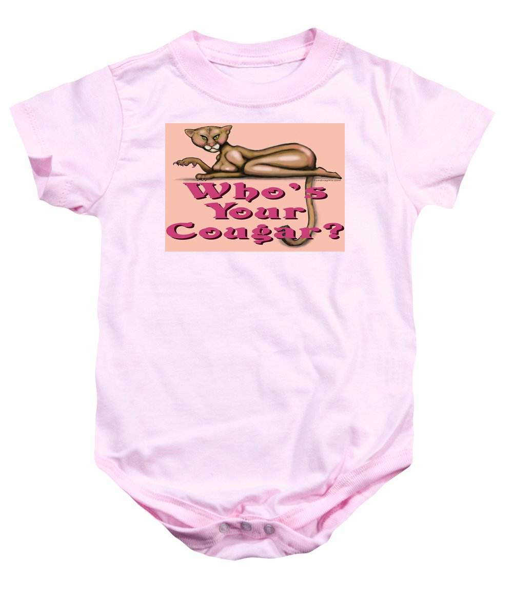Cougar Baby Onesie featuring the greeting card Whos Your Cougar by Kevin Middleton