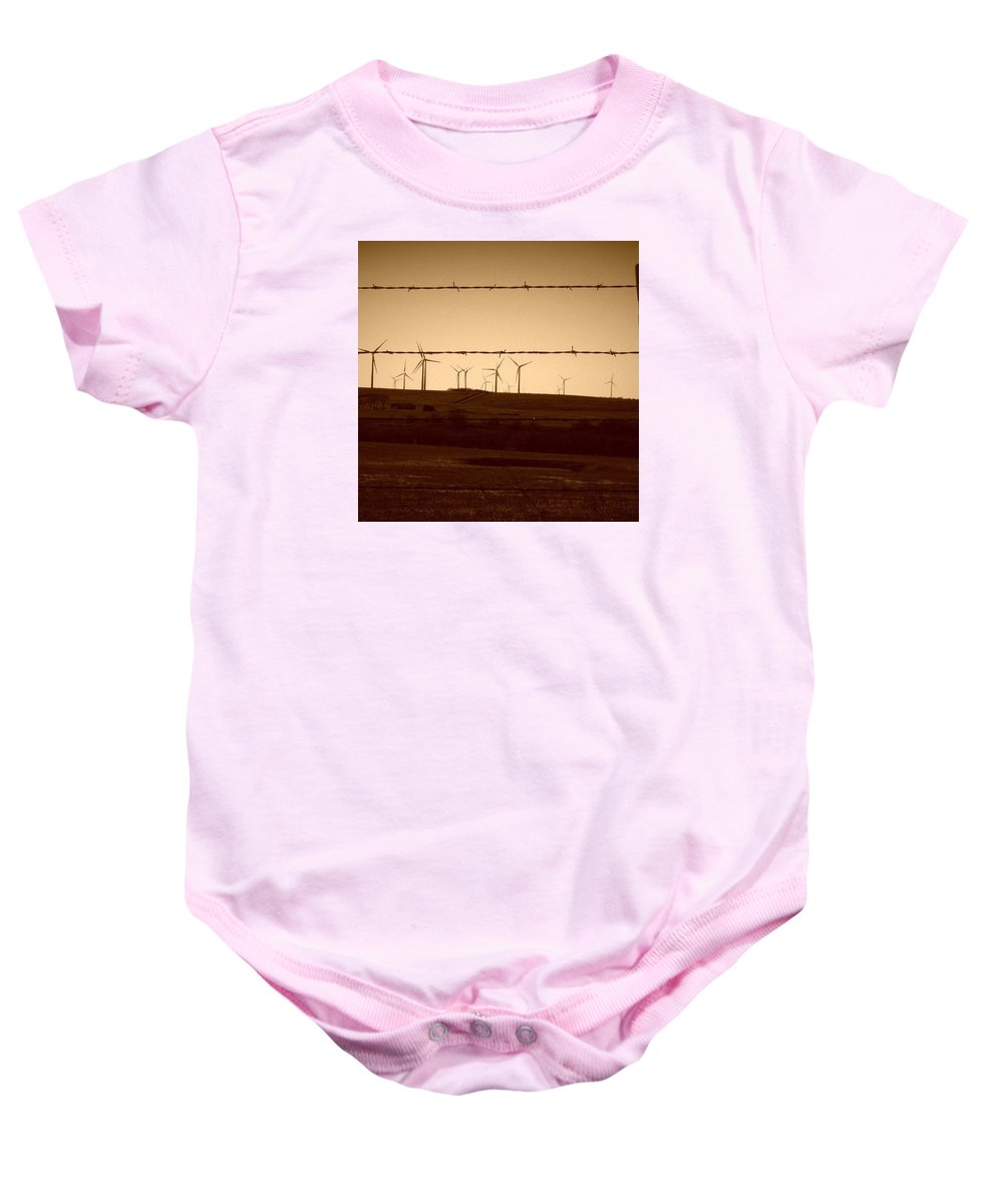 Barb Wire Baby Onesie featuring the photograph Wind Farm by Cheyene Vandament