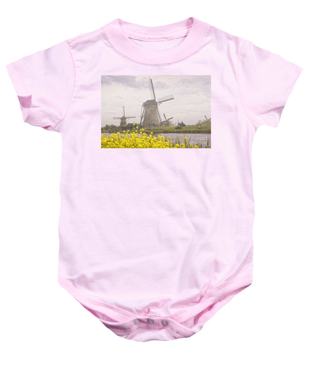 Holland Baby Onesie featuring the photograph Windmills by Timothy Hacker