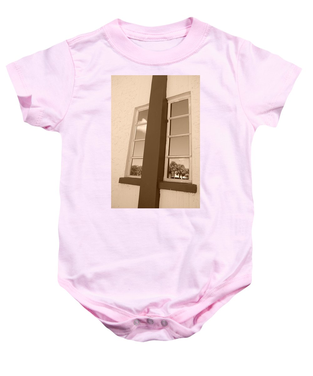 Sepia Baby Onesie featuring the photograph Window T Glass by Rob Hans