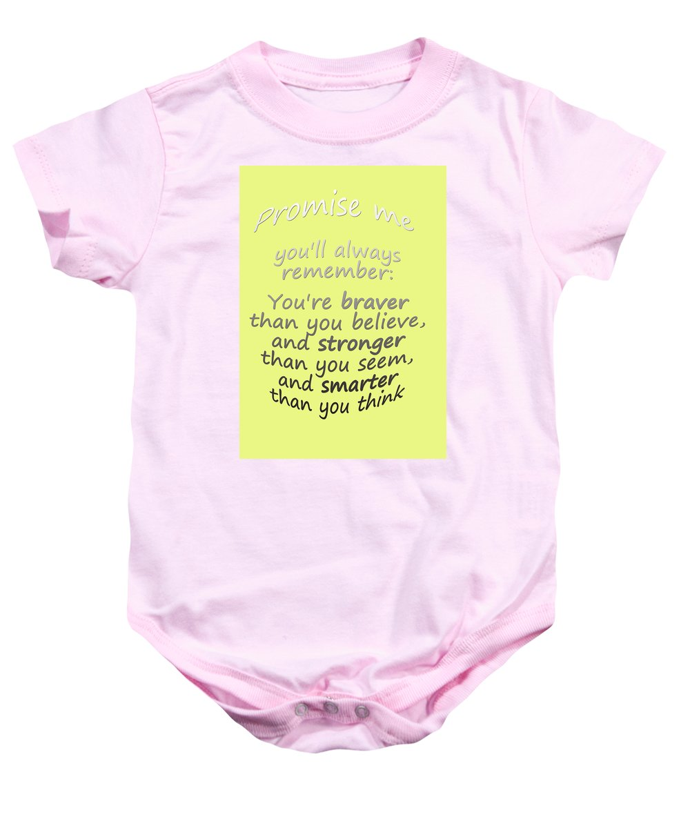 Pooh Quotes Baby Onesie featuring the digital art Winnie The Pooh - Promise Me by Georgia Fowler