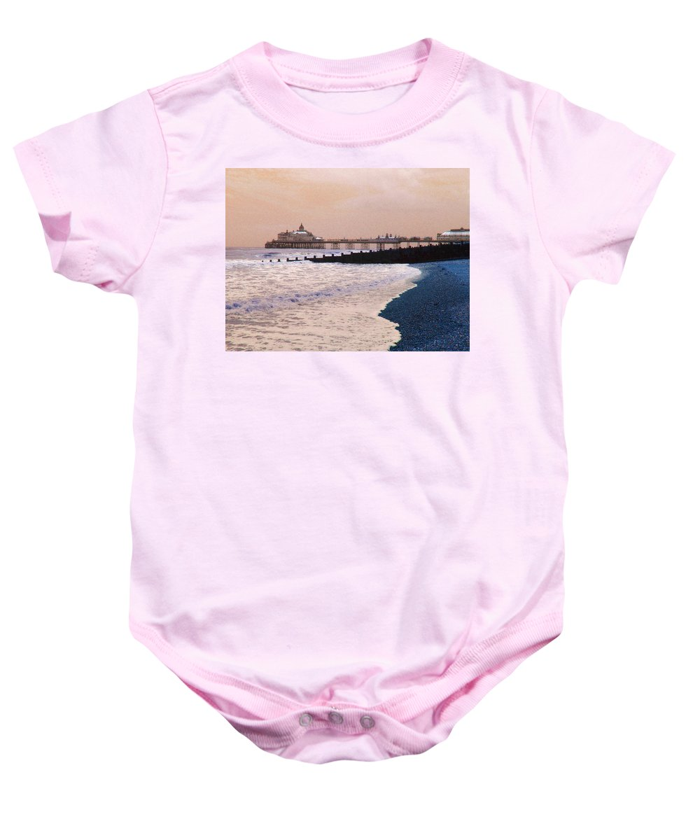 Winter Baby Onesie featuring the photograph Winter Pier by Heather Lennox
