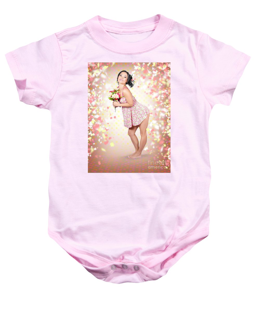 Woman Baby Onesie featuring the photograph Woman Holding Flowers In Hands. Spring Celebration by Jorgo Photography - Wall Art Gallery