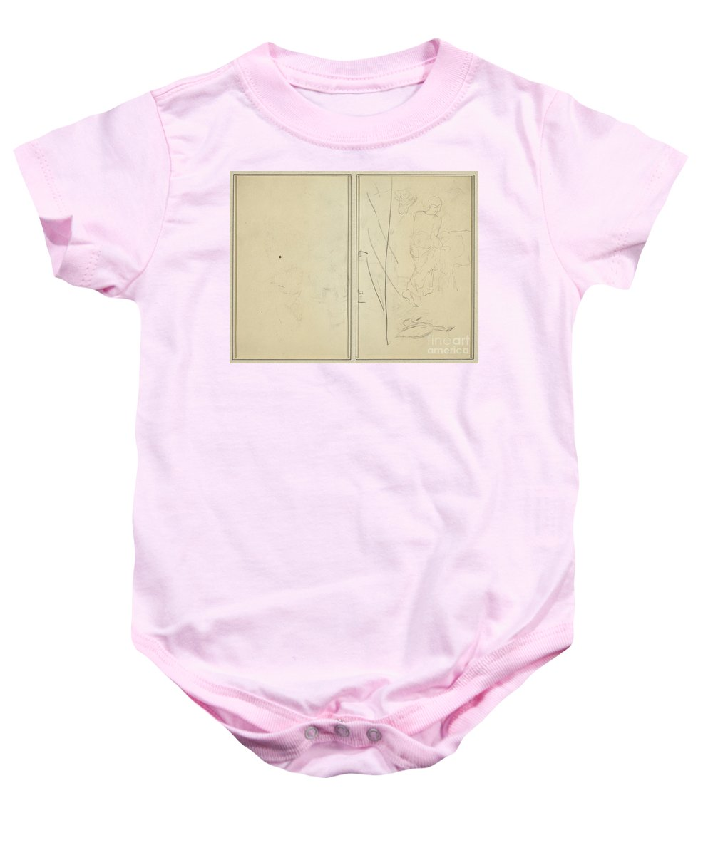 Baby Onesie featuring the drawing Woman With Cow, And Goose; Counterproof [verso] by Paul Gauguin