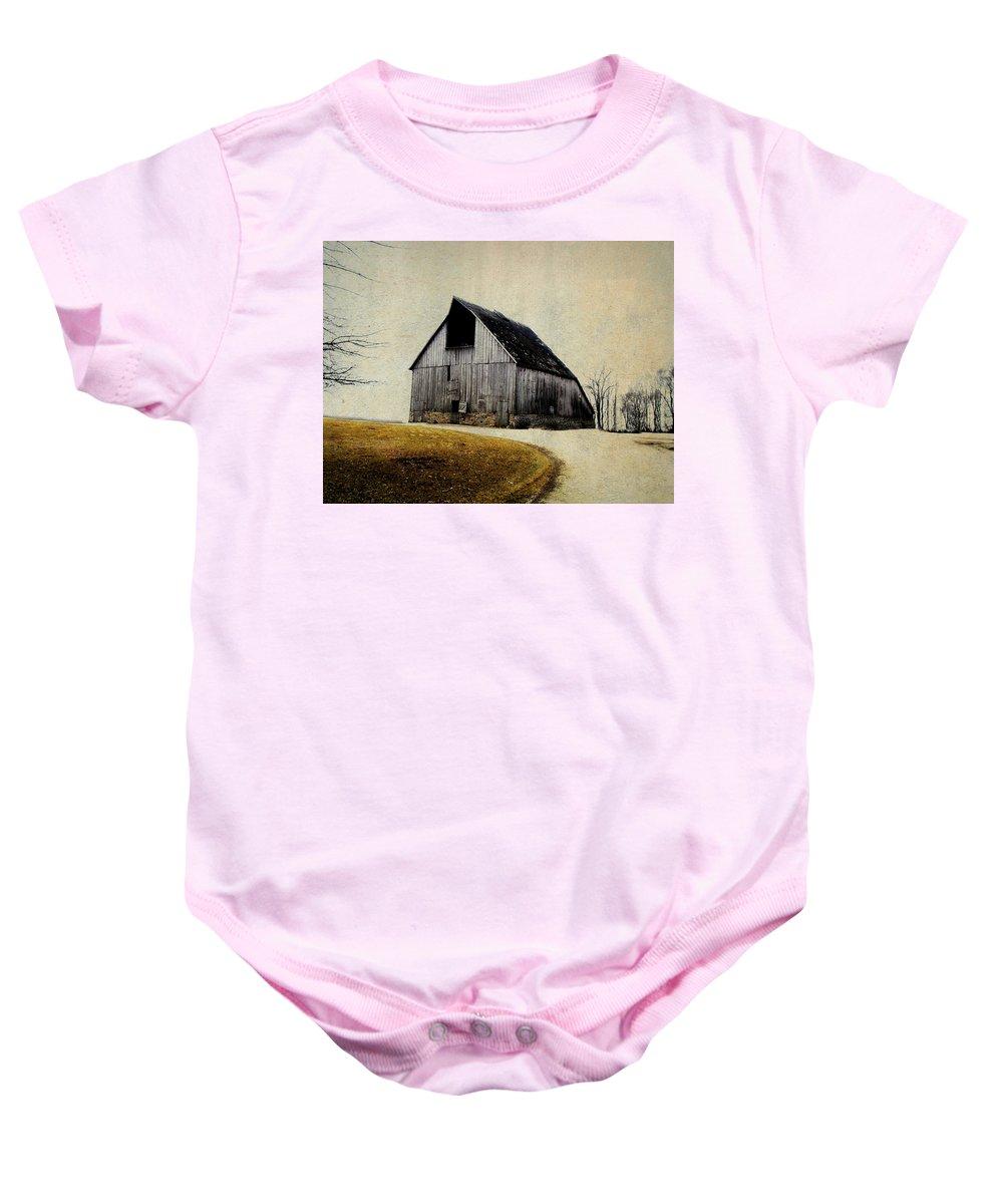 Barn Baby Onesie featuring the digital art Work Wanted by Julie Hamilton