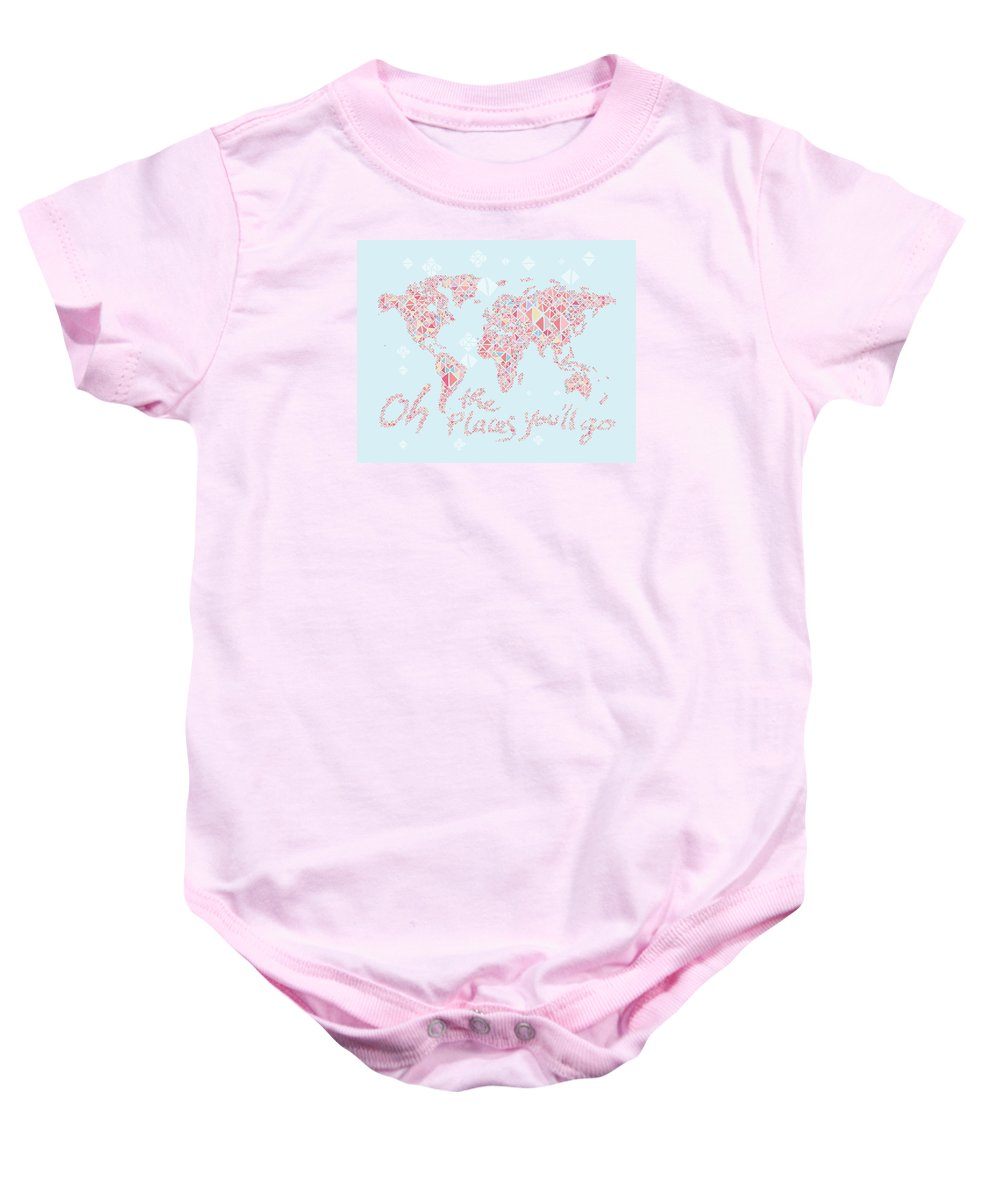 World Map Baby Onesie featuring the digital art World Map Geometric Pink Mint by Hieu Tran