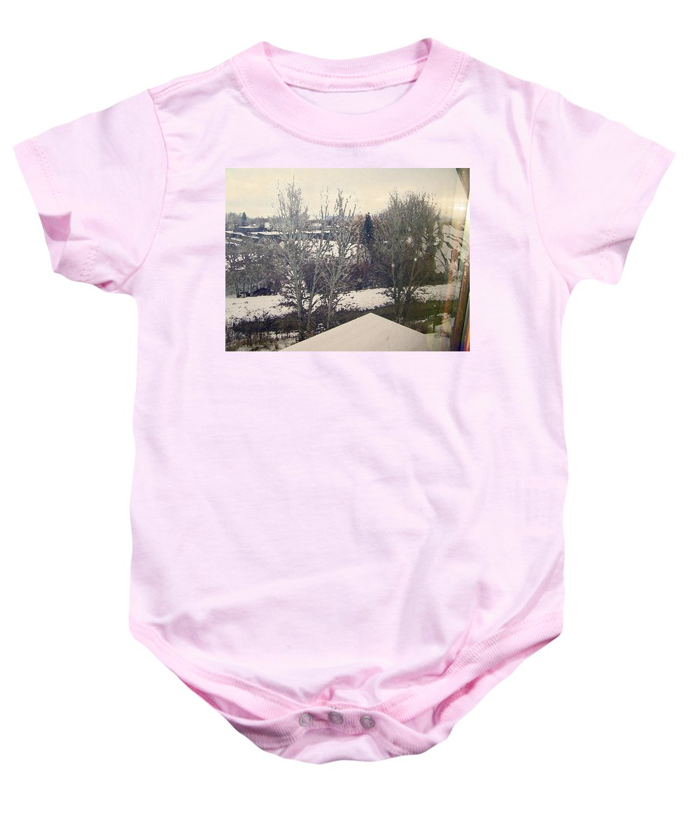 Abstract Baby Onesie featuring the photograph Wyoming Winter Window Reflections by Lenore Senior