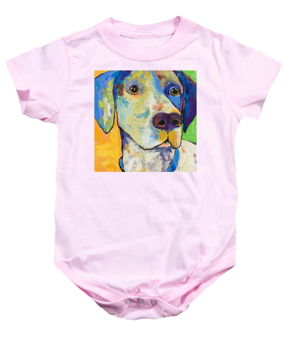 German Shorthair Animalsdog Blue Yellow Acrylic Canvas Baby Onesie featuring the painting Yancy by Pat Saunders-White