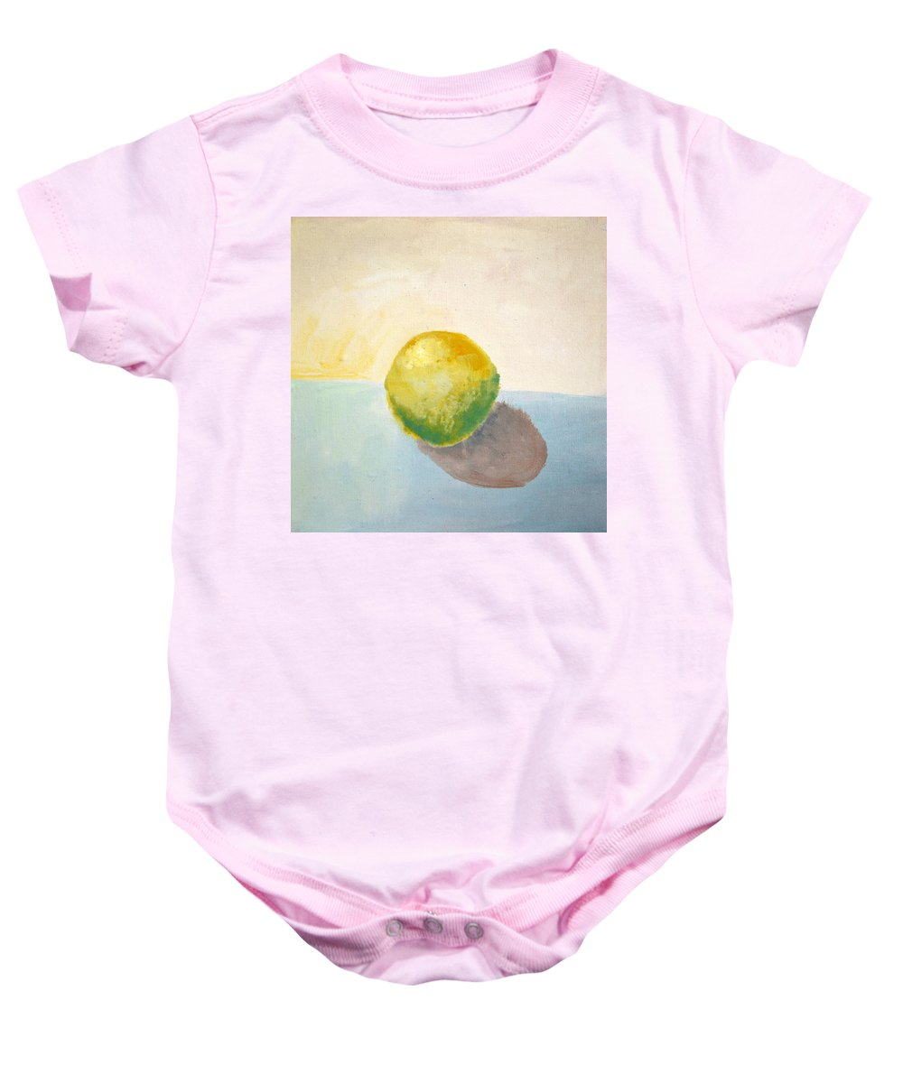 Lemon Baby Onesie featuring the painting Yellow Lemon Still Life by Michelle Calkins