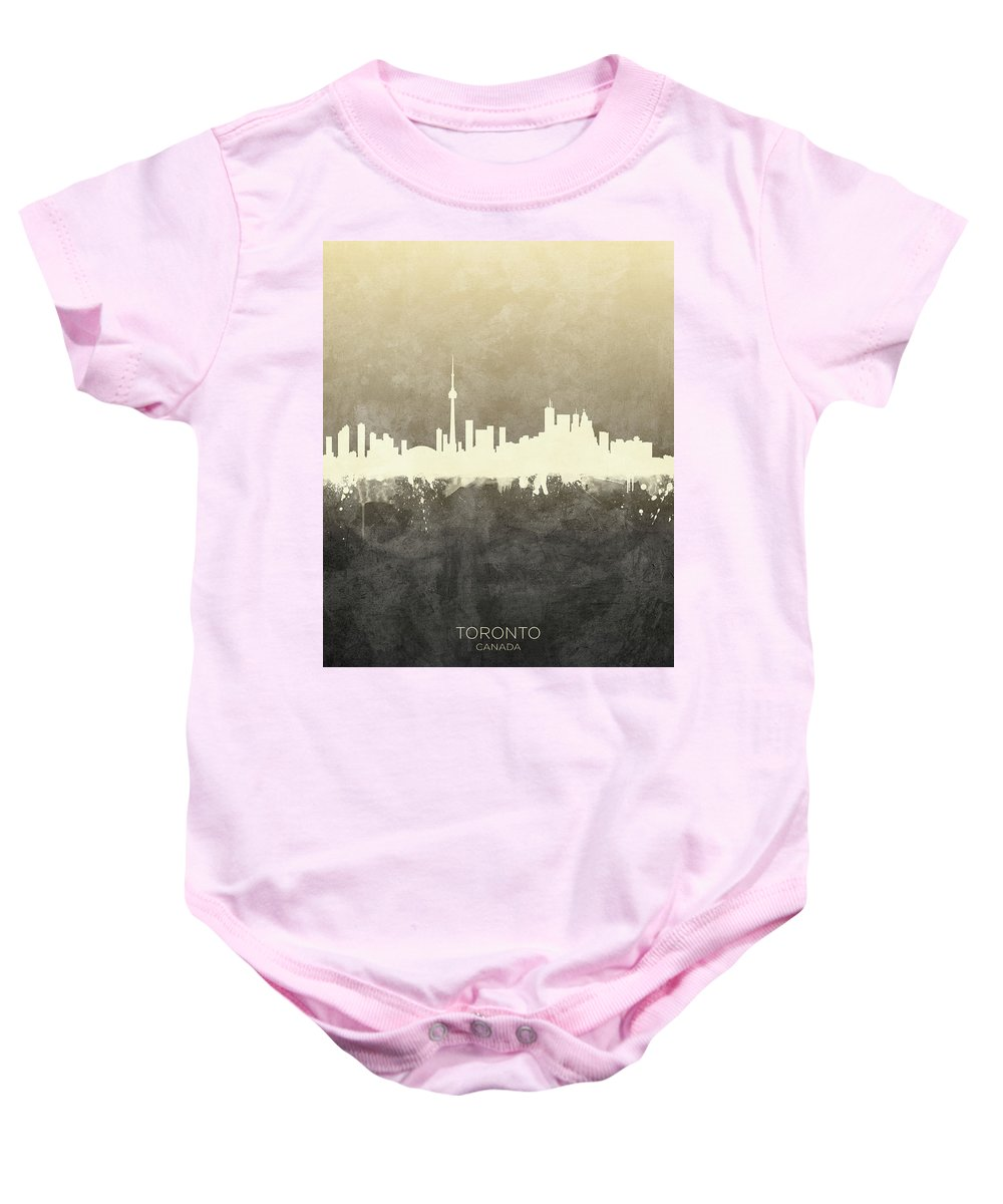 Toronto Baby Onesie featuring the digital art Toronto Canada Skyline 20 by Michael Tompsett