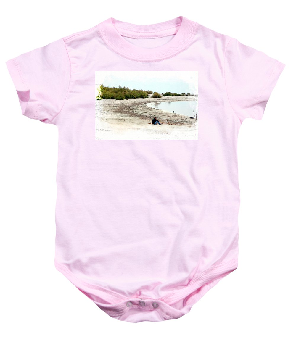 Watercolor Baby Onesie featuring the photograph Beach Goers-The Salton Sea in Digital Watercolor by Colleen Cornelius