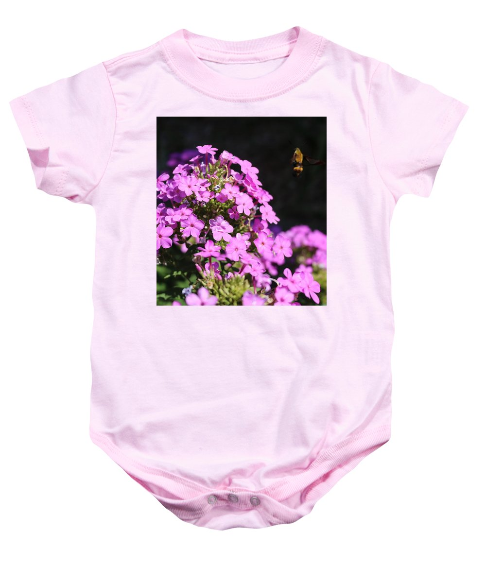 Flower Baby Onesie featuring the photograph Flower And Bee by Peter McCallum