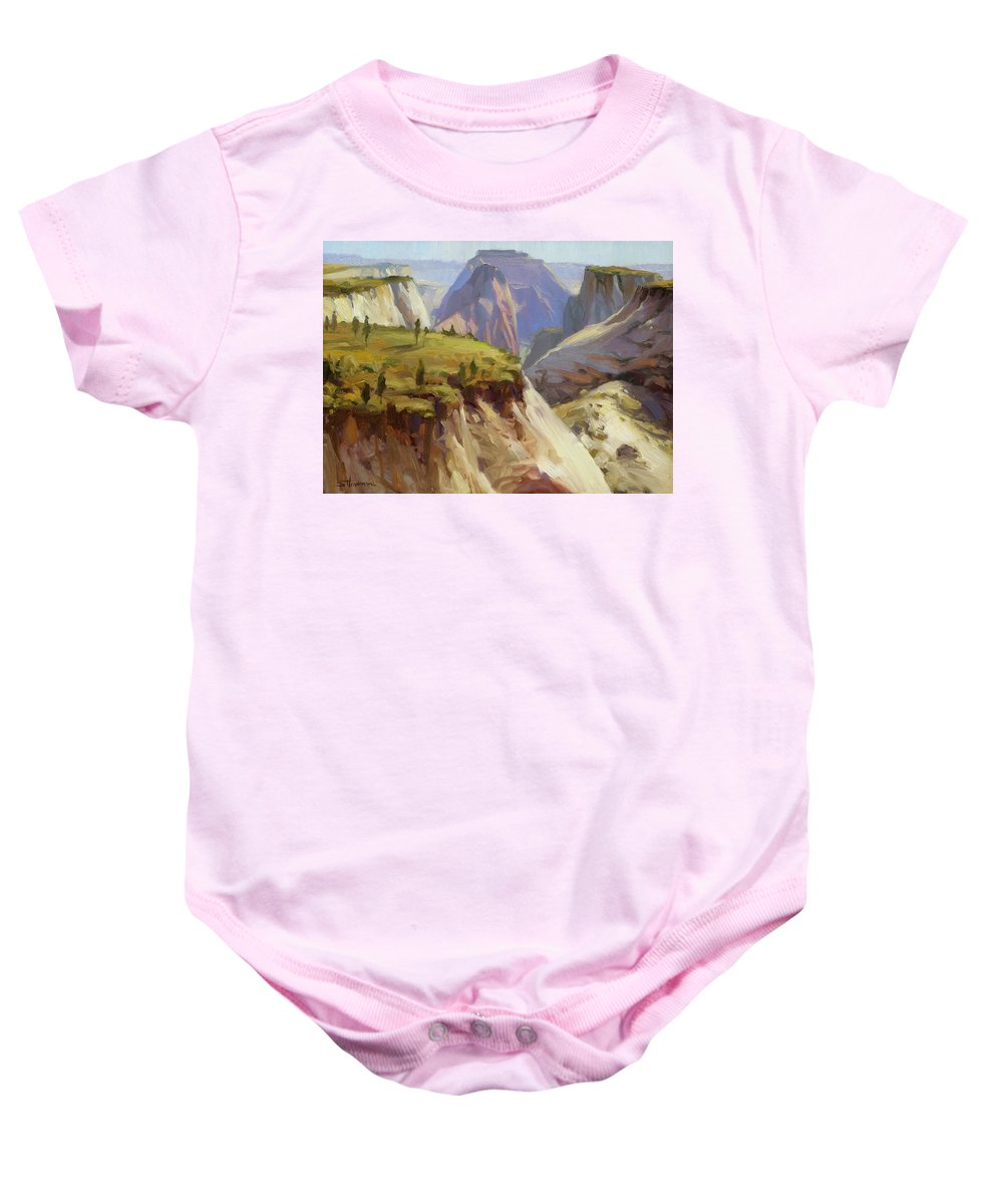 Zion Baby Onesie featuring the painting High On Zion by Steve Henderson