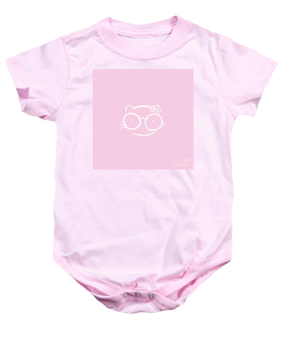 Kitty Baby Onesie featuring the mixed media Kawaii Hello Kitty In Large Nerdy Glasses On Bright Pink Backgro by Awen Fine Art Prints