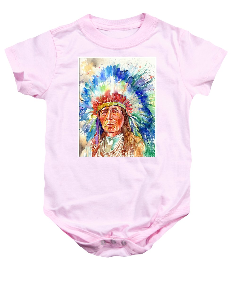 Iowa Baby Onesie featuring the painting Native American Chief by Suzann Sines
