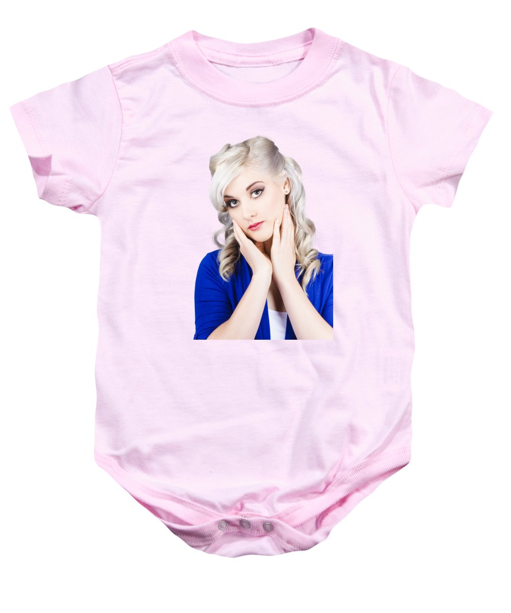 Beautiful Baby Onesie featuring the photograph Retro Pin-up Woman With Beautiful Face by Jorgo Photography - Wall Art Gallery