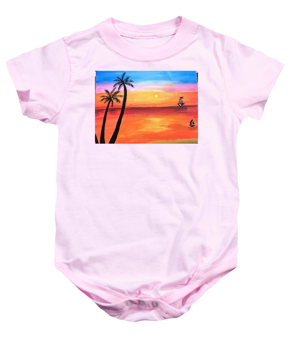 Canvas Baby Onesie featuring the painting Scenary by Aswini Moraikat Surendran
