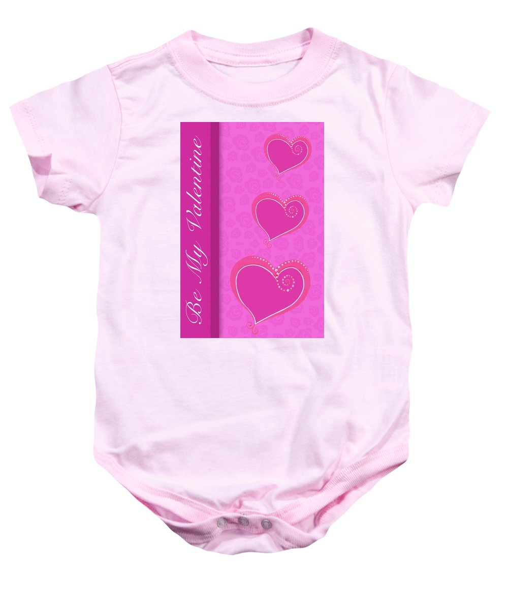 Sweet Baby Onesie featuring the mixed media Sweet Pink Valentines IIi by Andi Metz