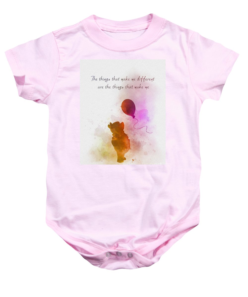 Winnie The Pooh Baby Onesie featuring the mixed media The things that make me different by My Inspiration