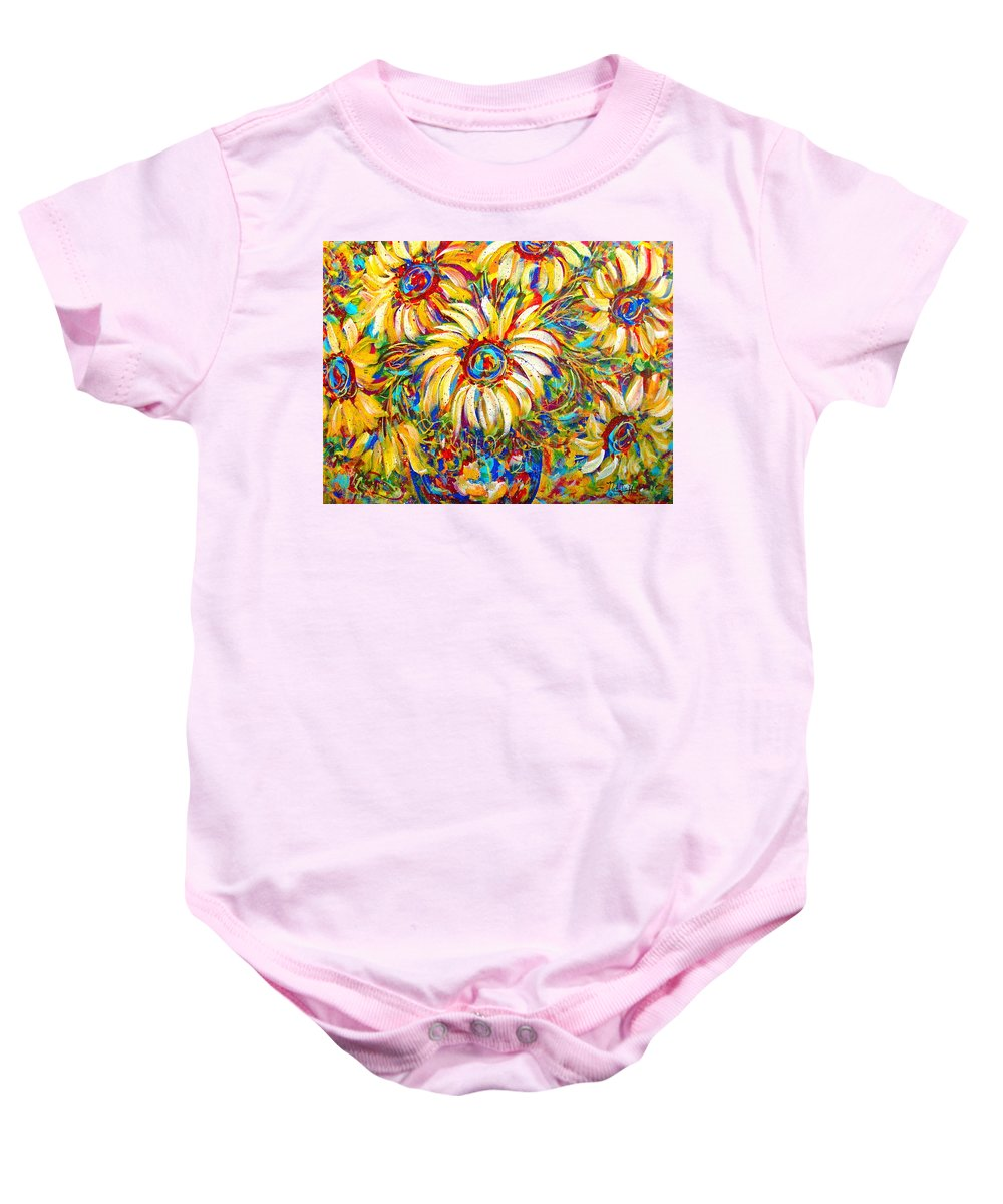 Flowers Baby Onesie featuring the painting Sunflower Burst by Natalie Holland