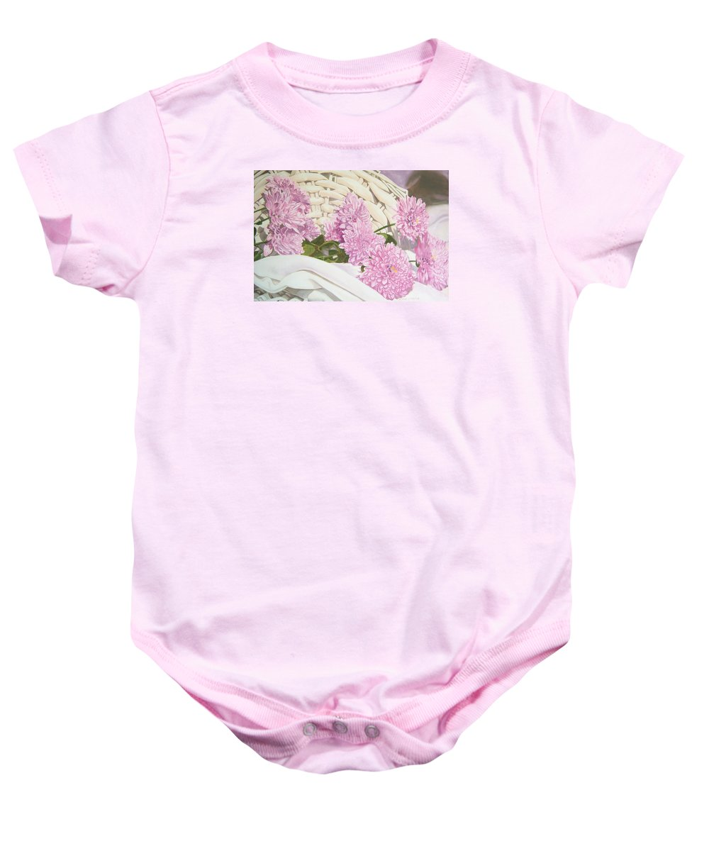 Fine Art Print Baby Onesie featuring the painting Floral Art Print For Sale Still Life Oil Painting by Diane Jorstad