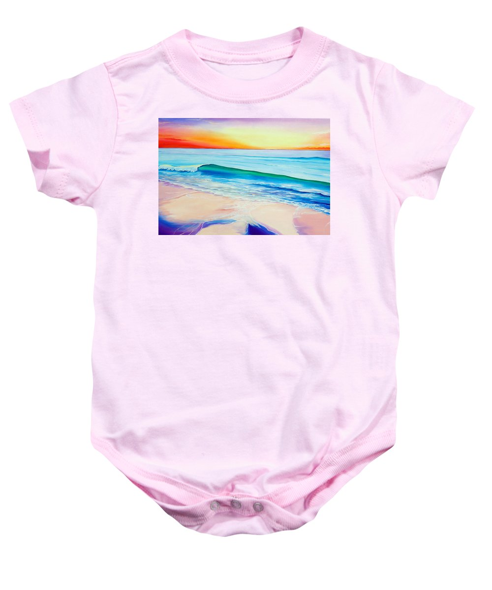 Sunset Painting Sea Painting Beach Painting Sunset Painting  Waves Painting Beach Painting Seaside Painting Seagulls Painting Baby Onesie featuring the painting At the end of a perfect day by Karin Dawn Kelshall- Best
