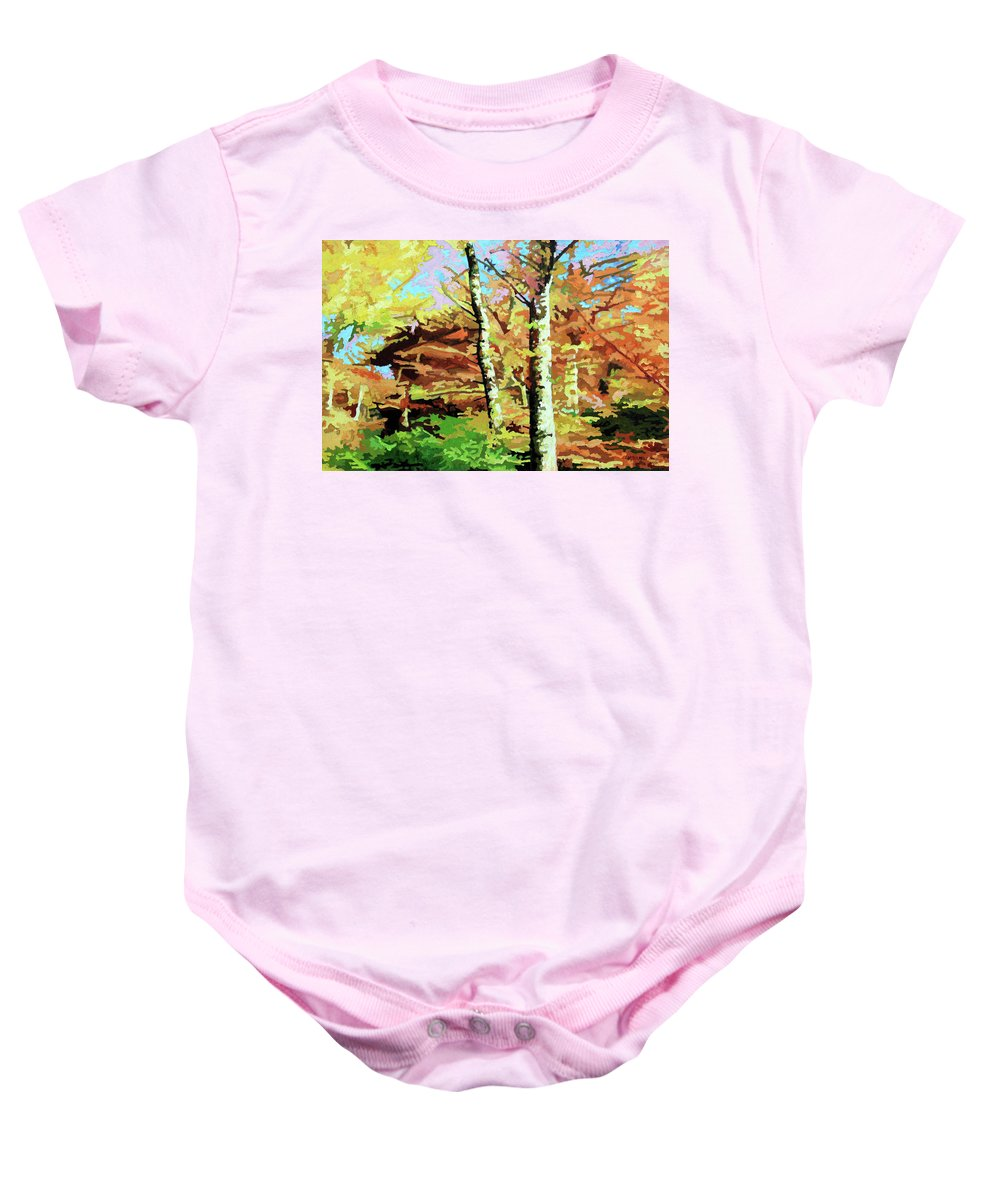 Autumn Baby Onesie featuring the painting Autumn's Spectacular Display by John Lautermilch