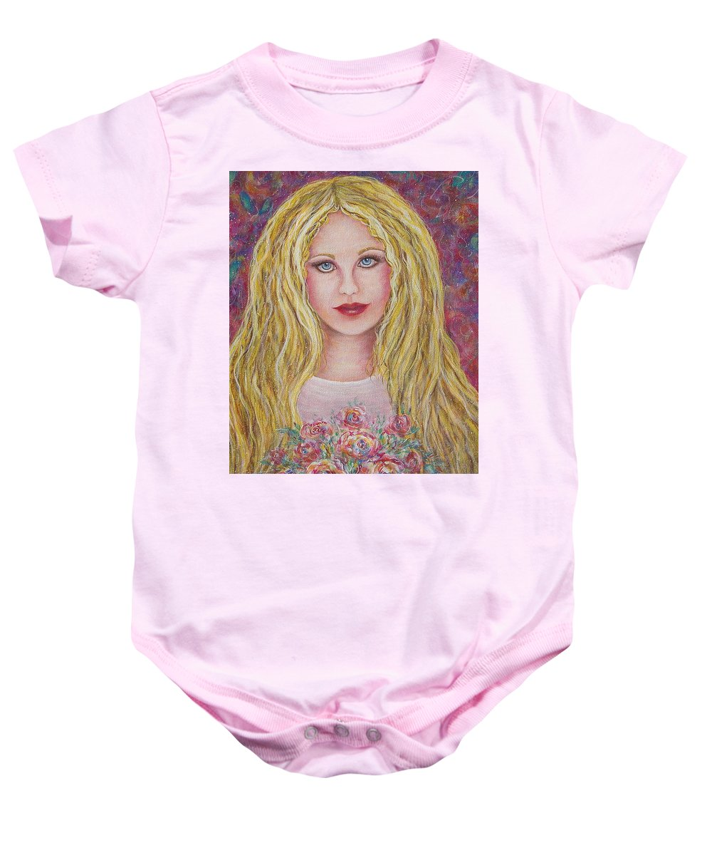 Figurative Art Baby Onesie featuring the painting Flowers For You by Natalie Holland