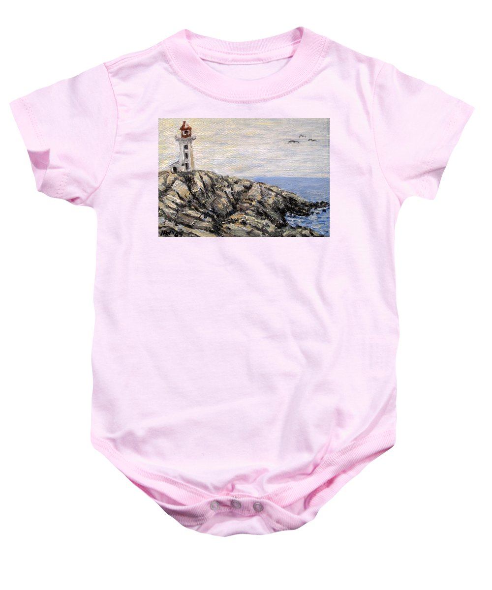 Lighthouse Baby Onesie featuring the painting Peggys Cove Nova Scotia Lighthouse by Ian MacDonald