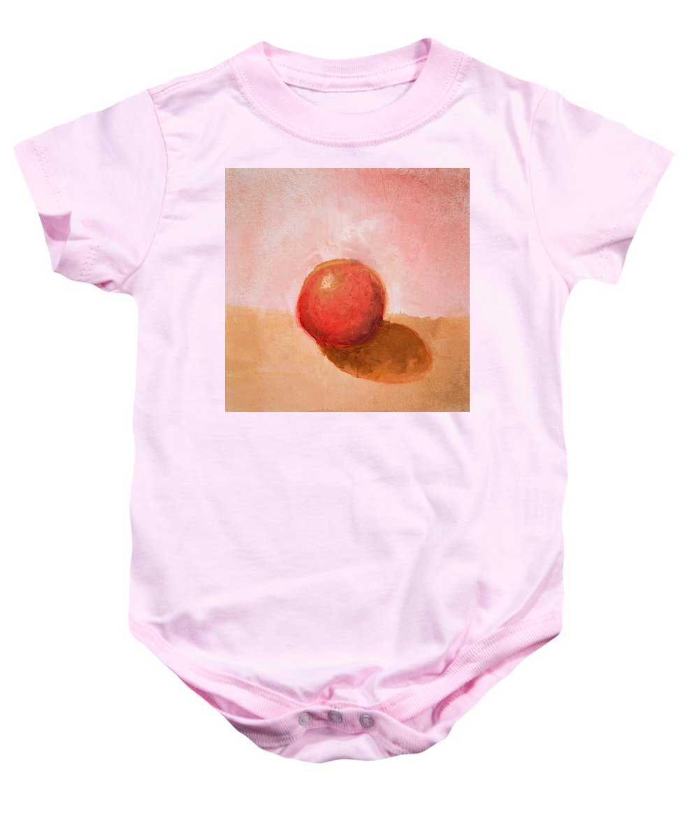 Spheres Baby Onesie featuring the painting Red Sphere Still Life by Michelle Calkins
