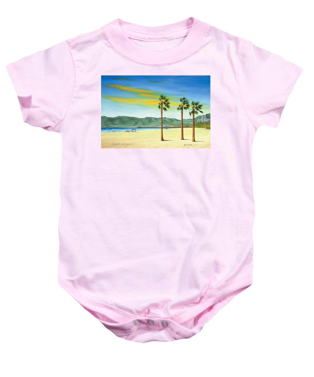 Santa Monica Baby Onesie featuring the painting Santa Monica by Jerome Stumphauzer