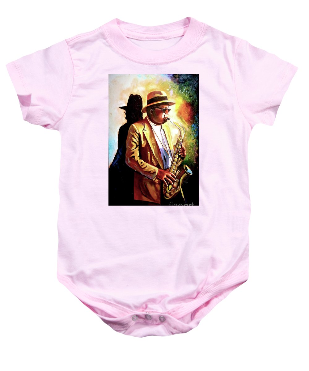 Sax Baby Onesie featuring the painting Sax Player by Jose Manuel Abraham